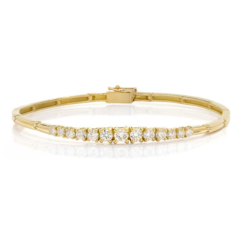 Prong Set Diamond Bangle Bracelet In 18Kt Gold