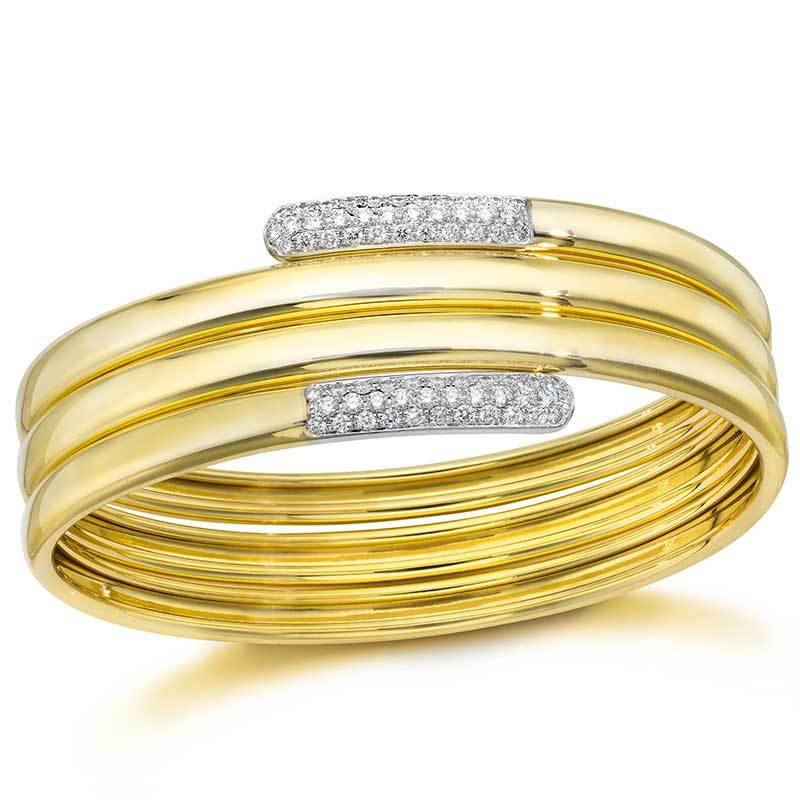 Yellow And White Gold And Diamond Wrap Style Bangle Bracelet
