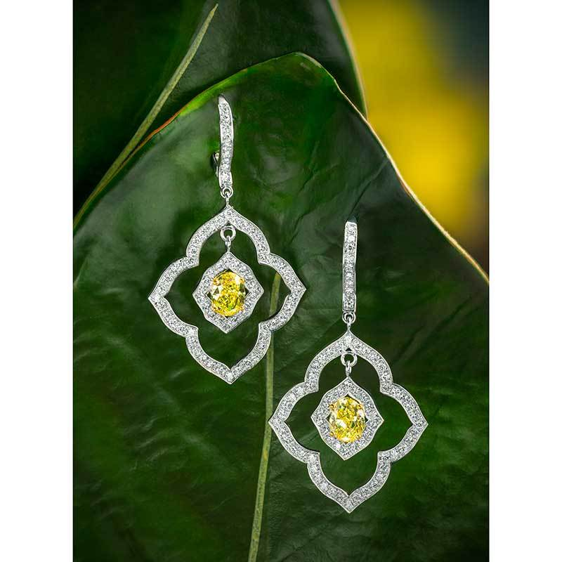 Jeffrey Daniels Fancy Yellow Diamond Earrings
