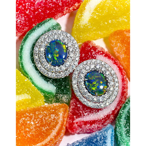 Beautiful Black Opal Earring Set In A Double Row Halo