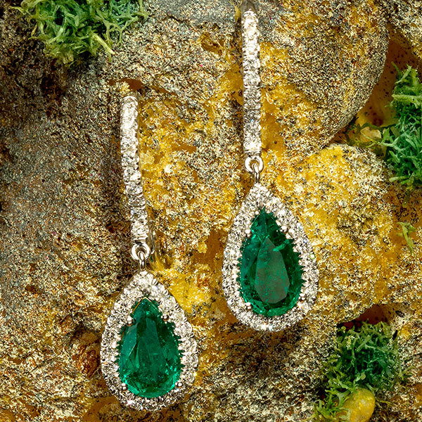 Jeffrey Daniels Emerald and Diamond Drop Earrings