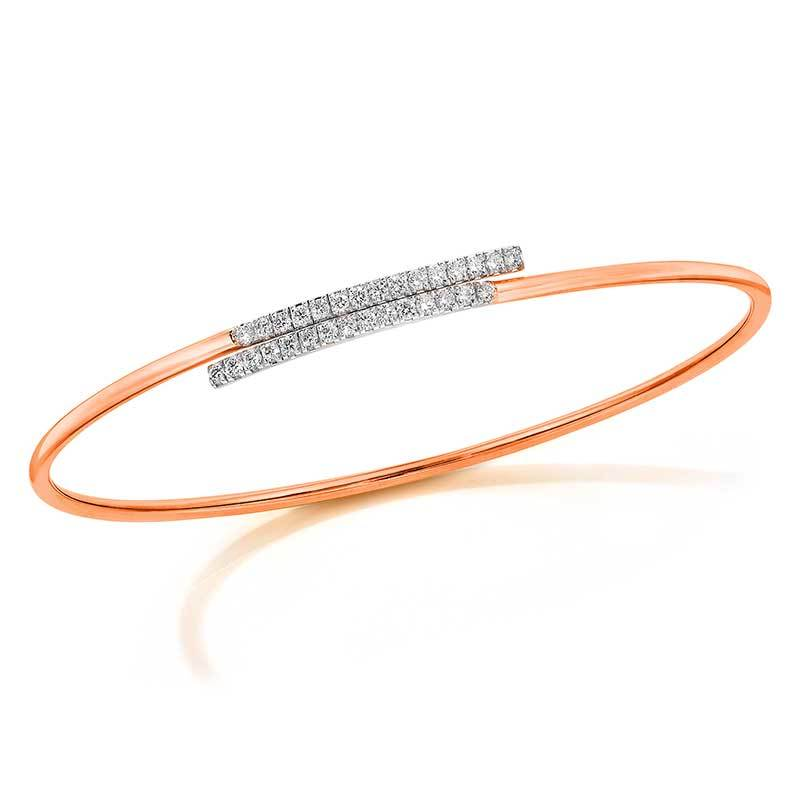 Rose Gold And Diamond Wrap Style Bangle Bracelet