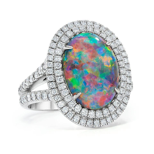 Double Halo Opal Ring wiith Diamonds