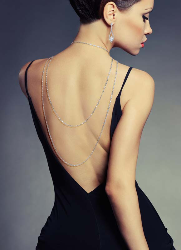 Extra long fancy diamond by the yard necklace