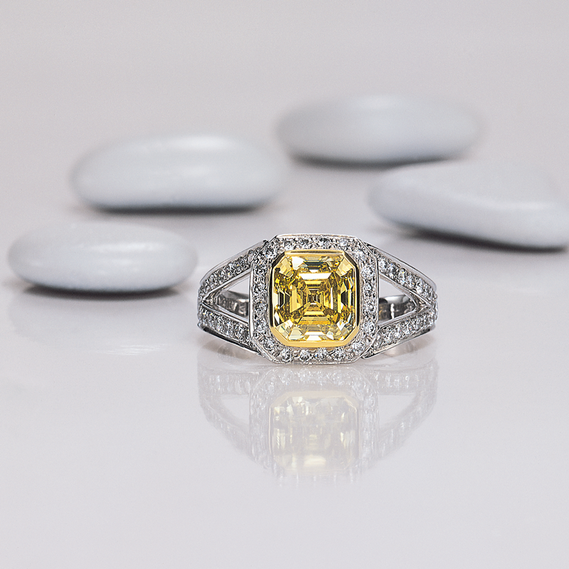 Square Fancy Yellow Diamond Engament Ring