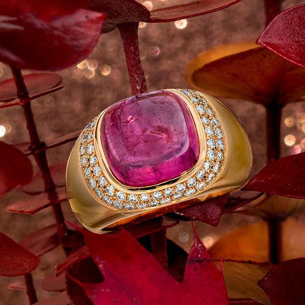 Jeffrey Daniels Cabachon Pink Tourmaline Ring