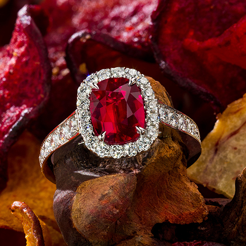 Fine Ruby Halo Ring In Platinum