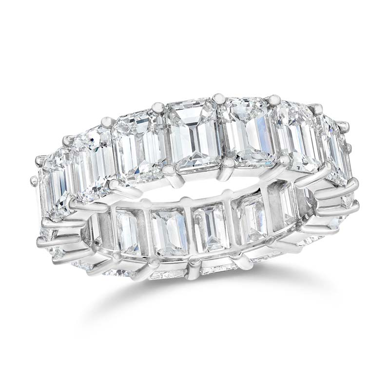 gGem Platinum Emerald Cut Diamond Eternity Band