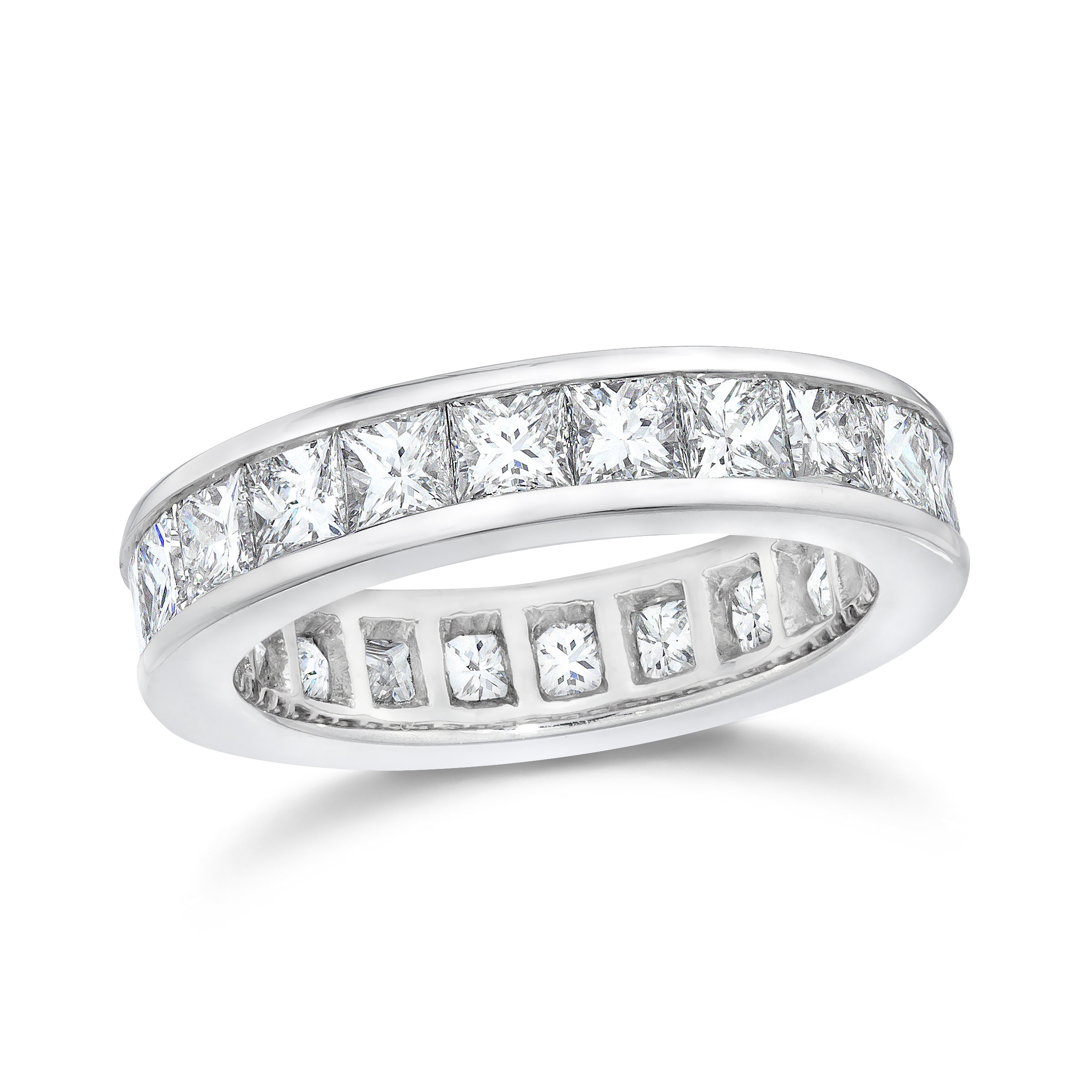 Princess Cut Channel Set Diamond Eternity Ring In Platinum